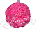 Fuchsia Hot Pink Silk Pomander Kissing Ball Wedding 8 inches