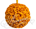 Burnt Orange Silk Pomander Kissing Ball Wedding 6 inches