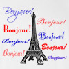 Bonjour Paris France Tour Eiffel T Shirt