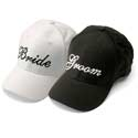 New Bride and Groom Wedding Baseball Caps in Black