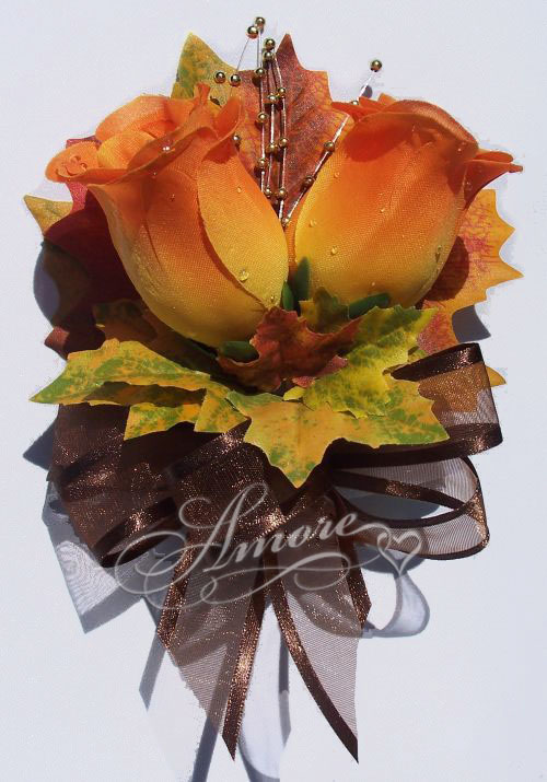 Orange roses corsage with fall maple leaves mightylinksfo